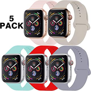 GZ GZHISY Pack 5 Sport Bands Compatible for Apple Watch Band 42mm 44mm, Soft Silicone Band Sport Strap Compatible for iWatch Series 5/4/3/2/1