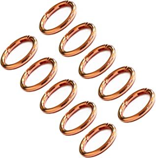 WEICHUAN 10PCS Zinc Alloy Oval Spring Clip Carabiner - Gate Oval Ring Carabiner Snap Clip Trigger Spring Keyring Buckle, Organizing Accessory/Metal Secure Holder/Durable and Rust-Proof (Rose Gold)