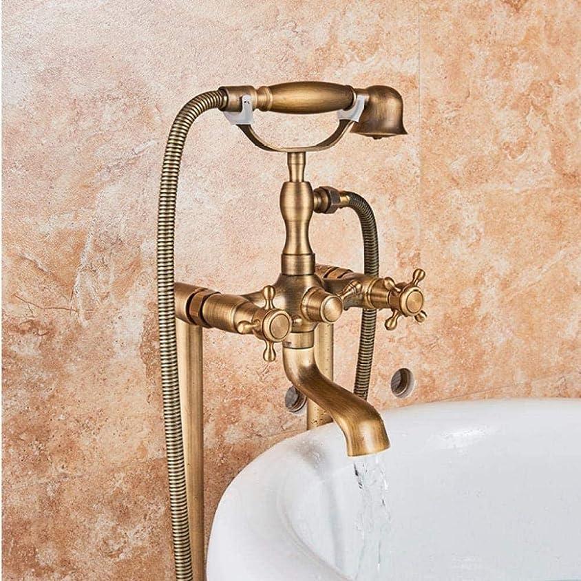 キャッシュ虚栄心メトロポリタンクラシックアンティーク真鍮の二重ハンドルのバスルーム独立型の浴槽の蛇口の床はホットコールド付きバスミキサータップをマウント