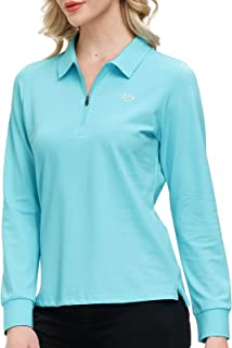AIRIKE Golf Polo Shirts for Women Long Sleeve Sports Polo Shirts Slim Fit Tennis Shirts for Work Workout Bussiness