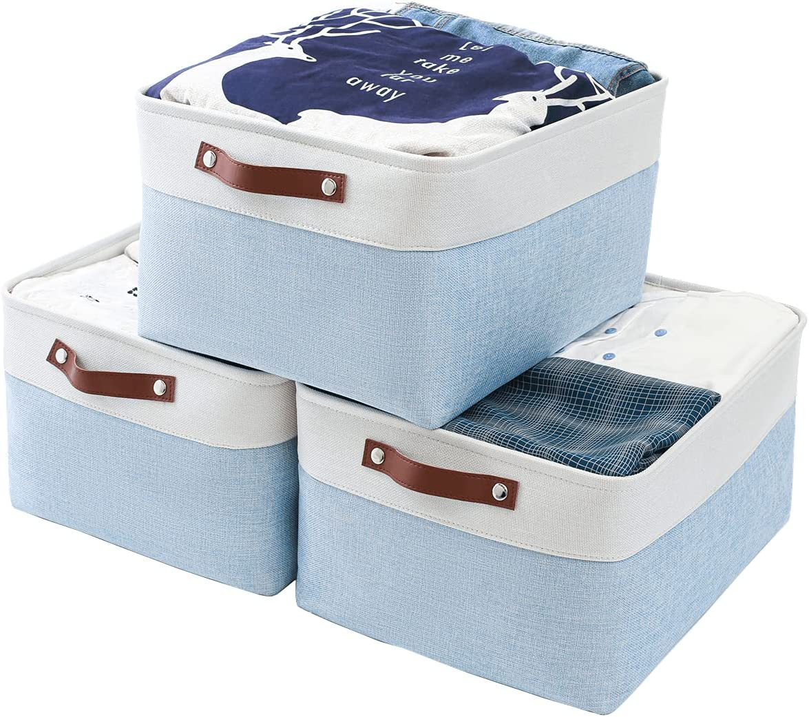 Mangata Cajas Almacenaje, Caja Almacenaje Ropa de Lona Engrosada Plegable Con Asas de Cuero Para Ropa, Juguetes,libros(Lavable, Azul/Blanco, Large)