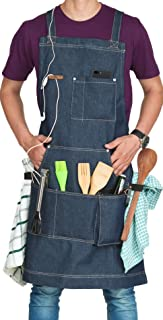 Aprons for Men & Women, Adjustable Denim Apron with Multiple Pockets, Ideal for BBQ Accessories - Non Leather Quick Releas...