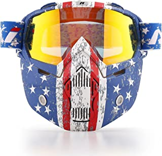 NENKI Motorcycle Goggles Mask NK-1019US For 3/4 Motorcycle helmets And Retro Harley helmet, Detachable Mask, US Flag Style | Patriot Graphic(Irridium Red Lens)