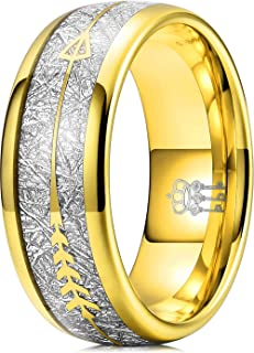 Three Keys Jewelry 6mm 8mm Imitated Meteorite Arrows Inlay Mens Tungsten Wedding Ring Band Gold Polished