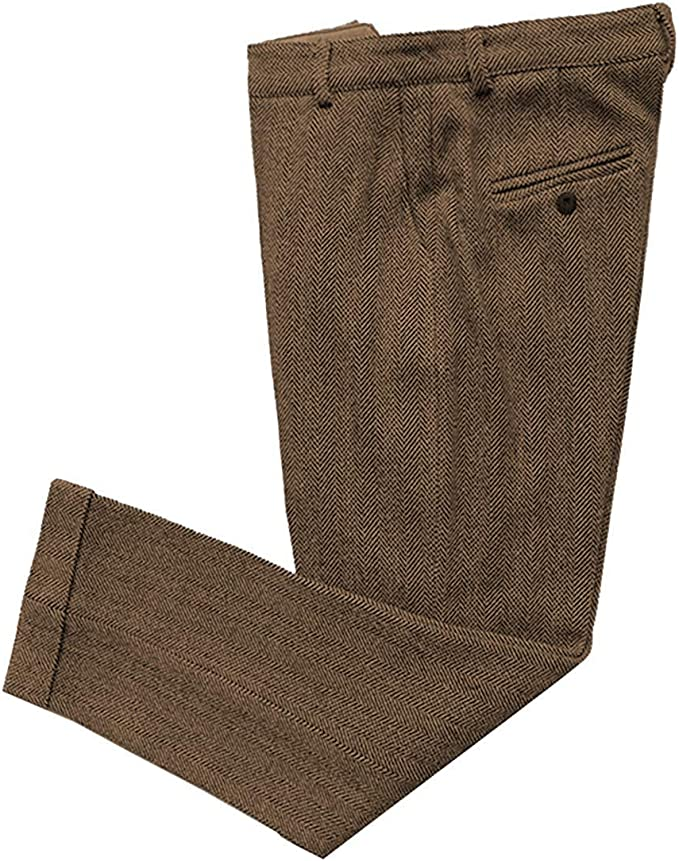 Men's Vintage Pants, Trousers, Jeans, Overalls Mens Vintage Herringbone Tweed Mens Business Suit Pants Thick Retro Wool Slim Fit Trousers for Wedding Groomsmen  AT vintagedancer.com