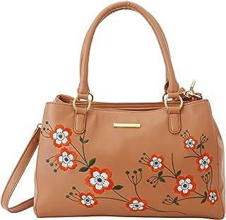 Lapis O Lupo Women Fashion Synthetic Leather Flower Print Handbags Shoulder Bag Top Handleand Purse Cross Sling Belt