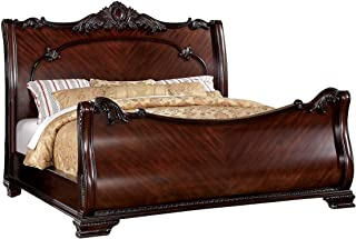 Furniture of America Clairmonte Baroque Style Sleigh Bed, Queen, Brown Cherry Finish