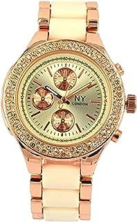 Cream Rose Gold NY London Ladies Modern Fashion Analog Metal Watch with Sparkling Crystal Bezel Quartz