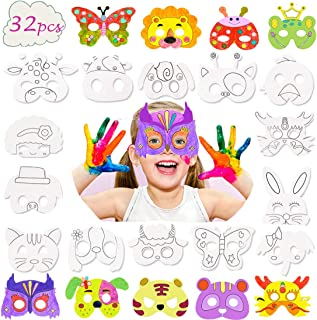 32 Pcs Animal Masks for Kids,DIY Graffiti Blank Painting Masks Jungle Dress up Mask for Party/Cosplay/Kids' Hand Painting Art Crafts ,Best Birthday Party Favors Circus Kids Mask Assorted
