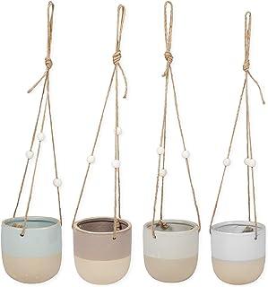 Set of 4 Stoneware Glazed Matte 4 Inch Pot Hanging Planters