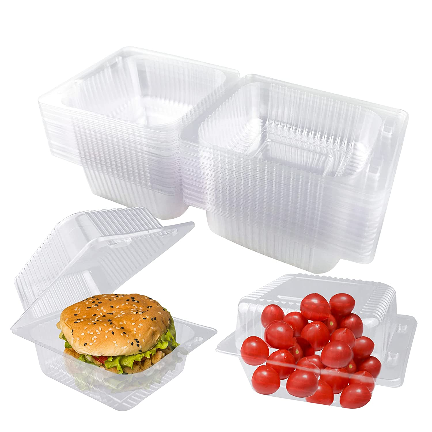 Clear Plastic Hinged Container 60 PCS 5.31