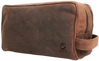 Rustic Town kulturtasche kulturbeutel Leder   Leather Toiletry Bag wash Bag   Leder Kosmetiktasche Waschtasche Reise-Tasche für Herren und Damen Dunkelbraun