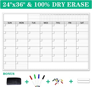 """$25 » Premium Large Dry Erase Wall Calendar 2020 with Goal Tracker, 24""""x36"""" Large Monthly Calendar for Classroom, Home, and Office, with 4 Dry Erase Markers, 1 Eraser, 8 Tape, and 8 Jumbo Tacks"""