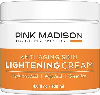 Pink Madison Whitening Cream. Anti Aging Skin Lightening Cream - Hyaluronic Acid, Kojic Acid, Green Tea. Best Night Day Moisturizing Cream. 4 Oz