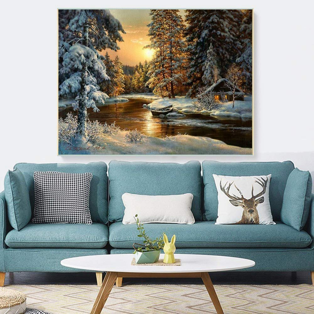 Cross Stitch Embroidery Snow Tree Scenery Cotton Thread Painting DIY Needlework Kits 14CT Winter Home Decoration Color : CT 038, Size : 14CT