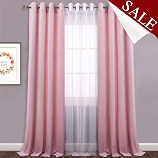 Pink Velvet Curtains for Kids Room - Light Dimming Super Soft Velvet Decorative Drapes for Nursey Privacy Protection/Noise Reduction, 52W x 96L inches, Sold as 2 Panels