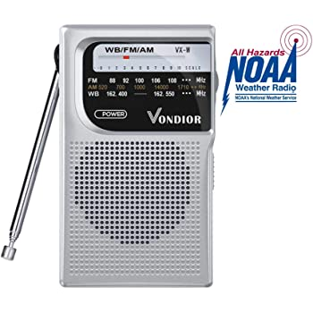 NOAA Weather Radio - Emergency NOAA/AM/FM Battery Operated Portable Radio with Best Reception and Longest Lasting Transistor. Powered by 2 AA Battery with Mono Headphone Socket, by Vondior (Silver)