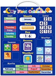 yeesport Kids Magnetic Calendar Set English Time Recognition Educational Toy Development Toy Calendar Toy Magnetic Calenda...