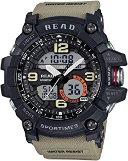SGJFZD Waterproof Luminous & Alarm & Date & Week Display Function Quartz Movement Men Sport Watch with Rubber Band (Color : Khaki)