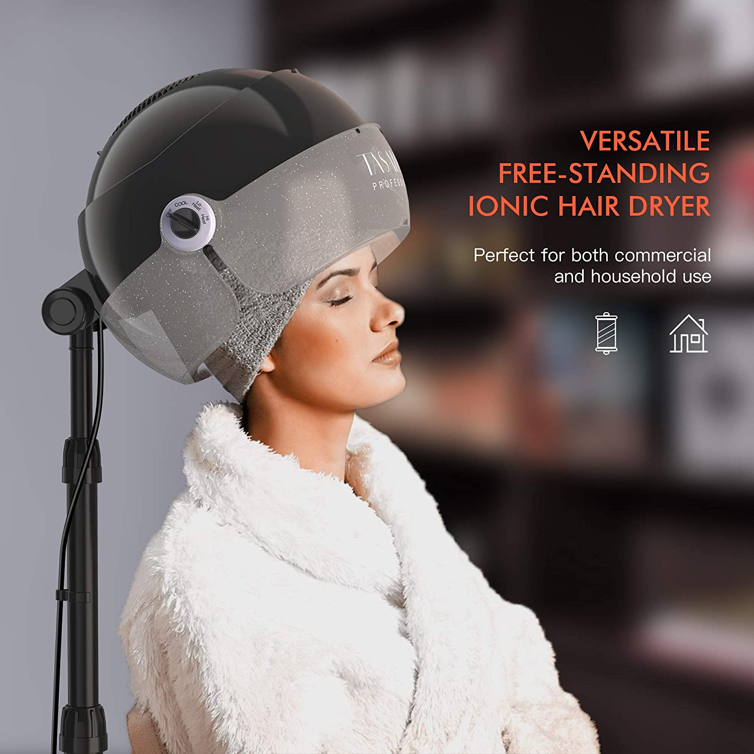 TASALON Ionic Hooded Dryer - 1875W Bonnet Hair Dryer - Sit Under Hair Dryer for Home and Salon - Professional Hair Dryer Hood with 3 Temperature Settings - Standing Hair Dryer - Portable Hair Dryer : Beauty & Personal Care