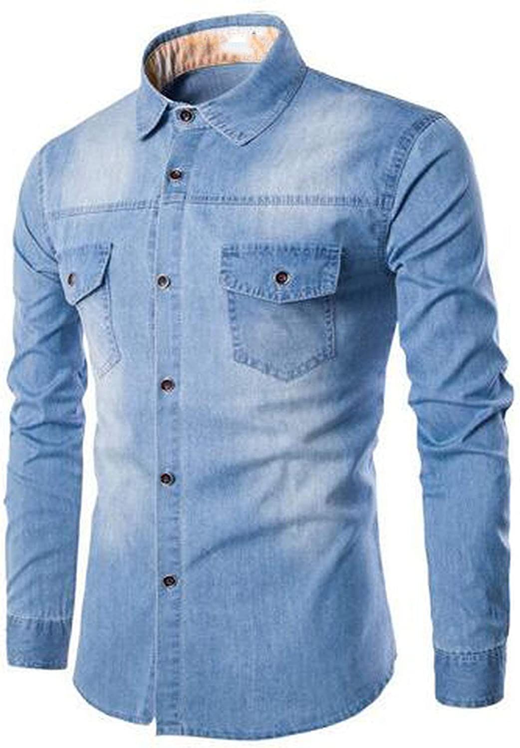 027b3803b Romantico Men Long Sleeve Denim Shirt Mens Casual Dress Dress Dress Male  Jean Shirts Street Wearing 2019 038125