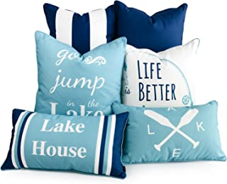 Hofdeco Lake House Indoor Outdoor Cushion Cover ONLY, Water Resistant for Patio Lounge Sofa, Aqua Navy White Life Better G...
