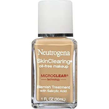 Neutrogena SkinClearing Oil-Free Acne and Blemish Fighting Liquid Foundation with Salicylic Acid Acne Medicine, Shine Controlling, for Acne Prone Skin, 60 Natural Beige, 1 fl. oz