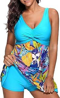 AYEEBOOY Tankini con Motivo Floreale a Taglie Forti da Donna con Costume da Bagno a Due Pezzi di Boyshort