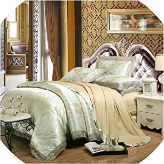 Silk Bedding Set Embroidery Bed Linens Tencel Satin Bed Sheet Set Jacquard Bedclothes Queen/King Size Bed Cover 4/6pcs,12,King 6pcs