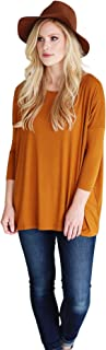 Women's Bamboo 3/4 Sleeve Top, Comfy Basic Dolman Style T-Shirt with Oversized Fit - 26 Colors Available