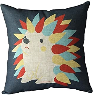 Decorbox Cotton Linen Square Decorative Cushion Cover Sofa Throw Pillowcase Hedgehog (50cmX50cm, Hedgehog)