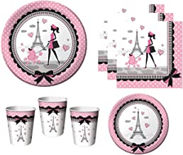 Party in Paris Tableware Supplies For Birthday French Themed Occasion Includes Plates Napkins Cups (Serves 16)