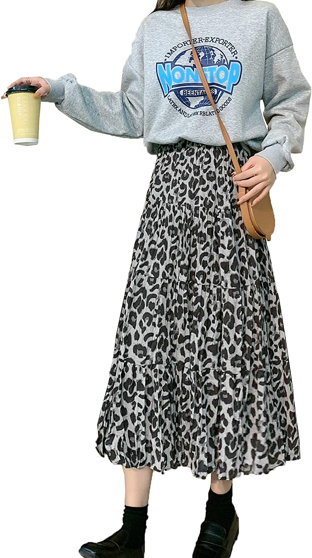 Women Casual High Waist Leopard Pattern Skirt Elastic A Line Pleated Skirt Midi-Long Tulle Shirring Skirt