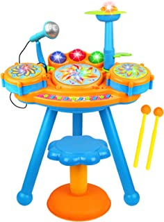 Kiddie Play Electric Toy Drum Set for Kids with Stool, Microphone and Beautiful LED Lights - Various Functions and Activity - 2 Drumsticks Included