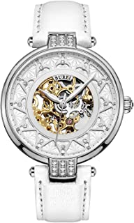 BUREI Elegant Women Skeleton Automatic Mechanical Watch with Sapphire Glass Rhinestone Markers and Soft Leather Strap