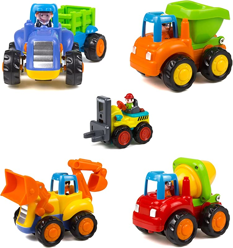 Woby Push And Go Friction Powered Car Toys Set Tractor Bulldozer Mixer Truck And Dumper For Baby Toddlers