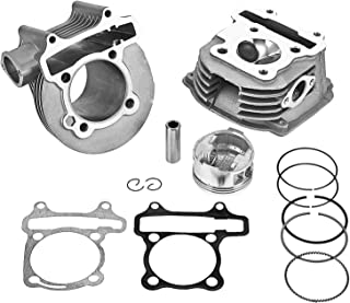 GY6 180cc Upgrade Cylinder Head Rebuilt Kit with Valves, 61mm Big Bore with Piston and Ring Assy for 152QMI 157QMJ Engine Chinese Scooter Moped ATV Go Kart Quad