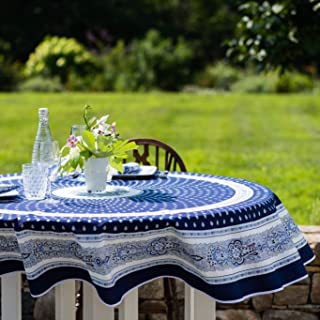 Amelie Michel Wipe-Clean French Tablecloth in Navy Bastide | Authentic French Acrylic-Coated 100% Cotton Fabric | Easy Care | 70