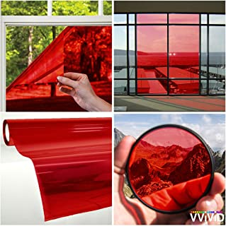 VViViD Transparent Colorful Vinyl Window Tinting Sheets (1.49ft x 5ft, Red)