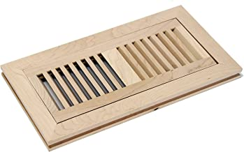 WELLAND 4X12 Inch Maple Wood Flush Mount with Frame,Floor Register Vents Cover Grille Unfinished, 3/4