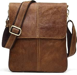 Men Vintage Messenger Bag, Nubuck Genuine Leather Cross-Body, Small Casual Shoulder Purse, Unisex Satchel