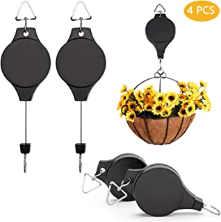 4PCS Retractable Plant Pulley Adjustable Hanging Flower Basket Hook Hanger for Garden Baskets Pots and Birds Feeder in Different Height Lower, 2.8ft Long & 22 lbs Weight Capacity