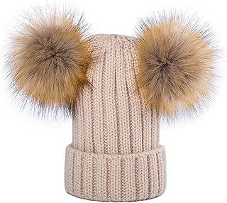 Kids Faux Raccoon Fur Ball Pompom Ears Winter Bobble Hat Knitted Double Pom Cap Kids Beanie Hat(Ages 3-12)