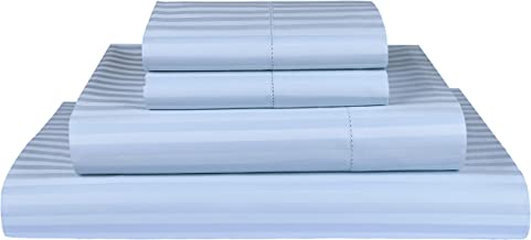 "Threadmill Home Linen 600 Thread Count 100% ELS Cotton Sheets 1cm Damask Stripe 4 Piece Bedsheet Set Fits Mattresses up to 18"" deep Pocket Hem Stitch Luxury Bedding Smooth Sateen King, Blue"