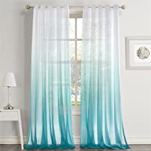 Dreaming Casa Gradient Ombre Sheer Curtains Draperies Window Treatment Voile for Living Room Kid's Room 84 Inches Long Grommet Top (52