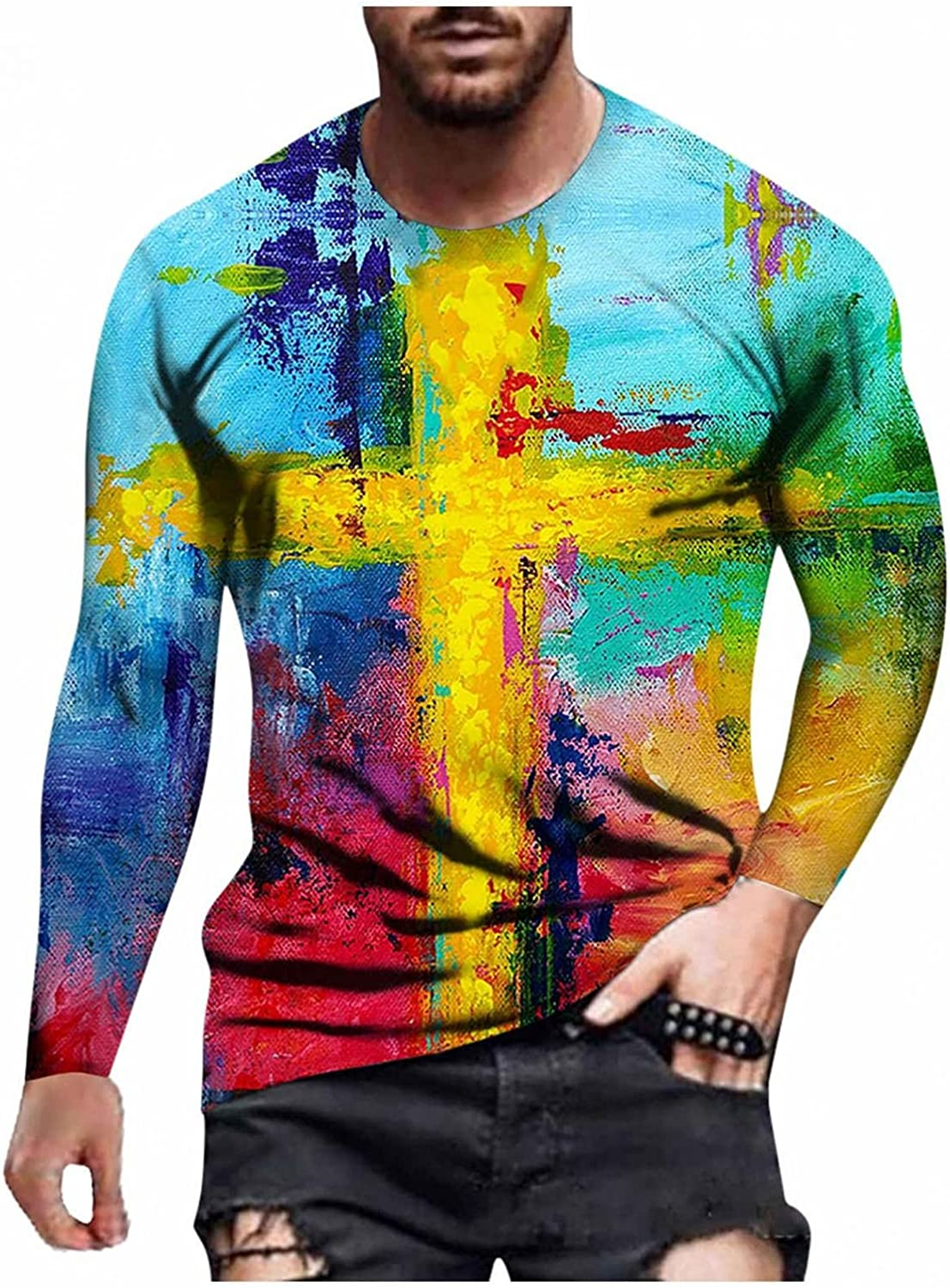 Men T-Shirts Cross Printed 3D Graphic Tee Casual Round Neck Long Sleeve Tops Workout Sport Men's T Shirts