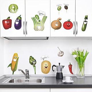 decalmile Vegetales Cocina Pegatinas Pared Desmontable Divertido Maíz Chile Fruta Vinilo Decorativos Adhesivos para Cocina...