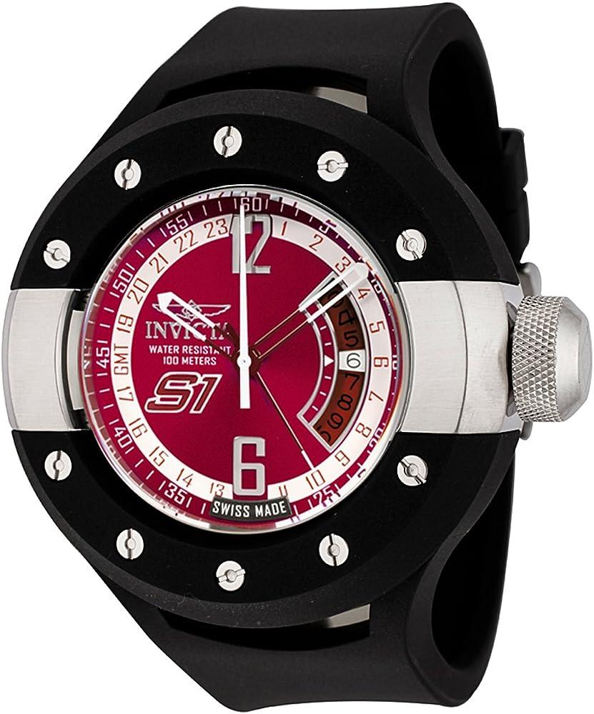 Invicta,orologio,cronografo per uomo,cassa in acciaio inossidabile con cinturino in caucciù 6483