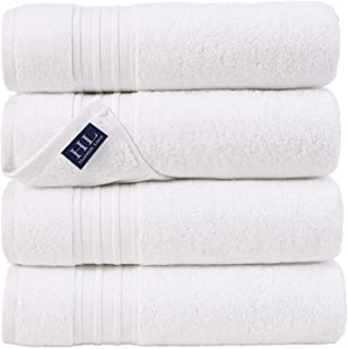 Hammam Linen White Bath Towels 4-Pack - 27x54 Soft and Absorbent, Premium Quality Perfect for Daily Use 100% Cotton Towel