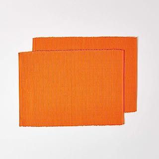 HOMESCAPES Set de Table en Coton Lot de 2, Linge de Table uni Orange, 30 x 45 cm